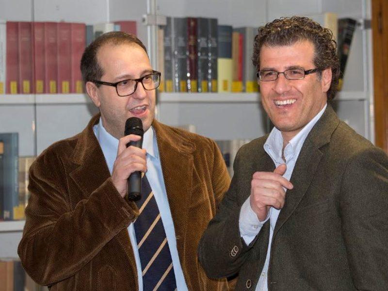 Nicola Baronti , presentatore della serata, con il sindaco di Vinci, Giuseppe Torchia